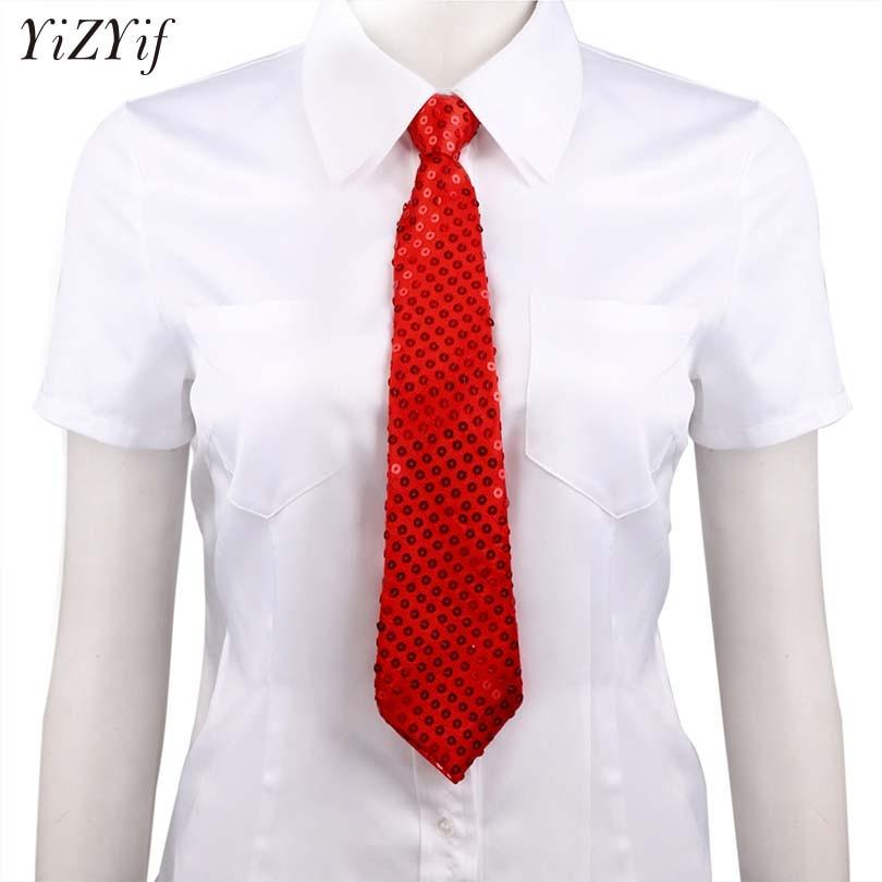 YiZYiF Unisex Sequin Tie Shiny Tie Costumes Pre-tied Necktie Neckwear Men Women Adjustable Zipper Ties Party Costume Magic Show