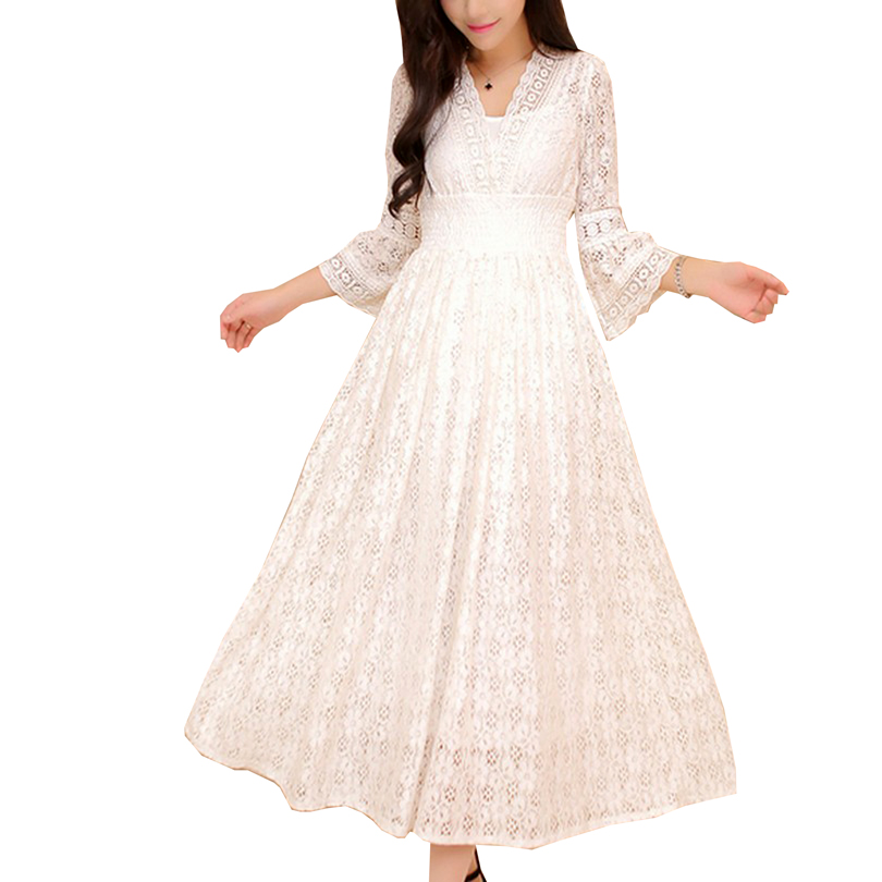 Sweet V Neck High Waist Long Dresses Women S-XL Autumn Robe Femme Slim Thin Lace Dress Solid Color Three Quarter Sleeve Vestidos