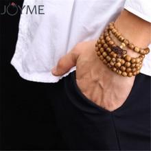 Браслет из 108 деревянных бусин, мужской молитвенный браслет, тибетский буддийский Малый Розария, браслеты для женщин, Деревянные ювелирные изделия
