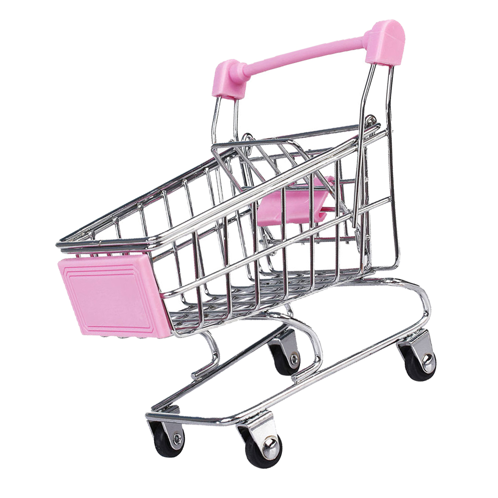 Kids Room Home Decor Pretend Play Mini Shopping Cart Trolley Toy Gift Pink M