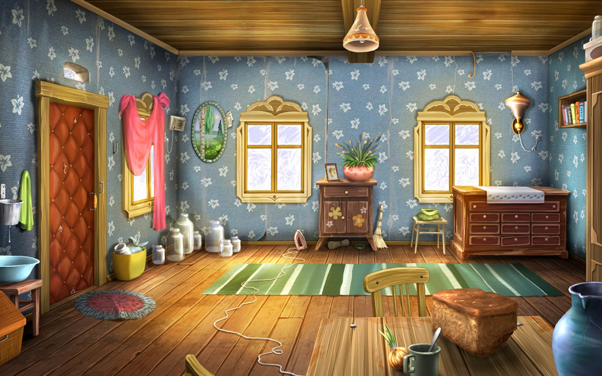 Artistic Cartoon Living Room Window Door Light photo backdrop Computer print children kids background
