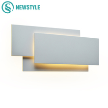 Modern Creative 18W LED Wall Lamp Living Room Aisle Staircase Square Lamps Bedroom Bedside Black/white Light