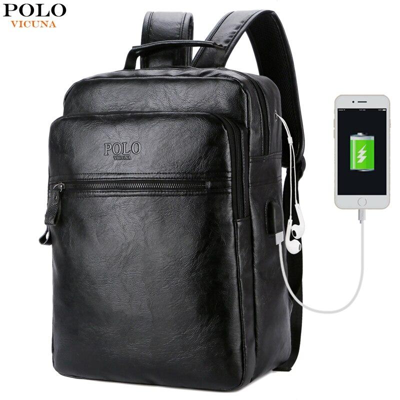 9a2d0f460 Comprar Vicuña POLO de cuero de los hombres de Cable USB de viaje mochila  para portátil con auriculares agujero la escuela mochila tiene bolsillo  mochila ...