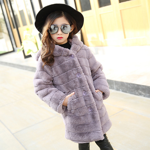 Girls in the children's Korean version of the winter 2018 new trend fashion solid color thick warm hooded plush coat FPC-44 туфли shoiberg туфли на каблуке