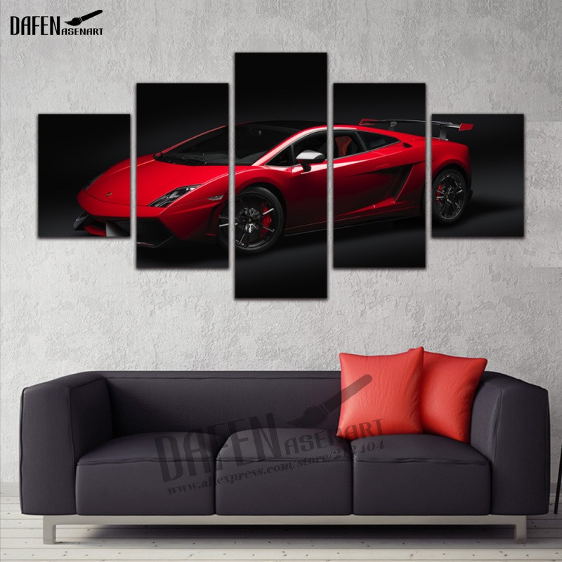 5 Panel Wall Art Canvas Print Painting Red Sports Car Paintings for Living Room Bedroom Decoration Framed Picture Ready to Hang