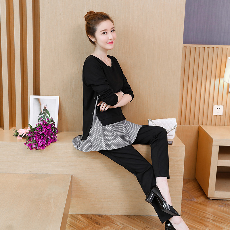Black-Two-Piece-Set-Women-Patchwork-O-Neck-Long-Sleeve-Tops-Loose-Pants-Casual-Plus-Size (1)