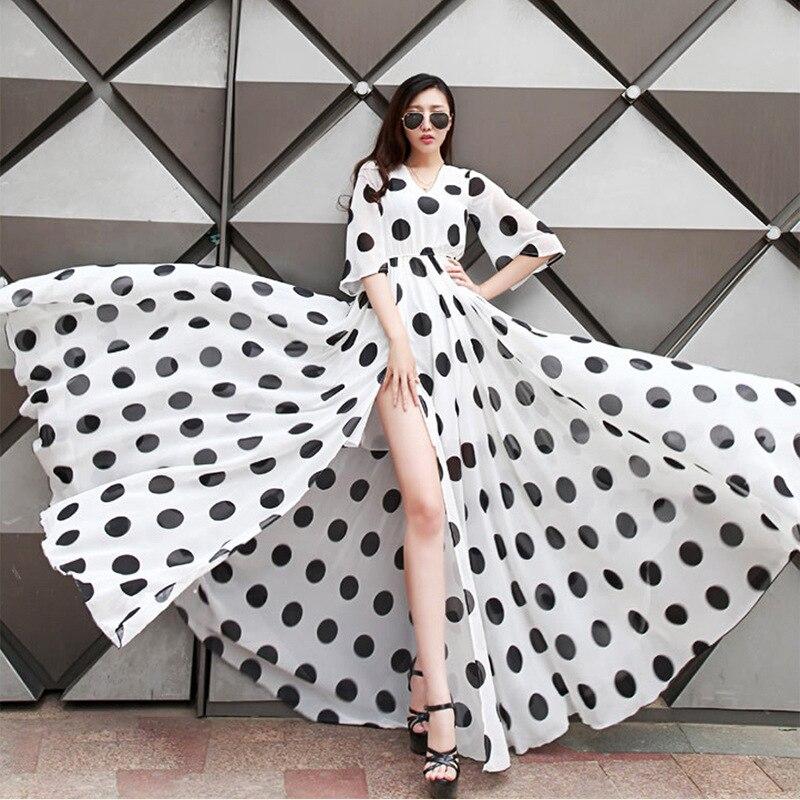 Été nouvelles femmes décontracté grande taille Flare manches Sexy haute fente robe dames bohême noir/blanc à pois imprimer robes en mousseline de soie