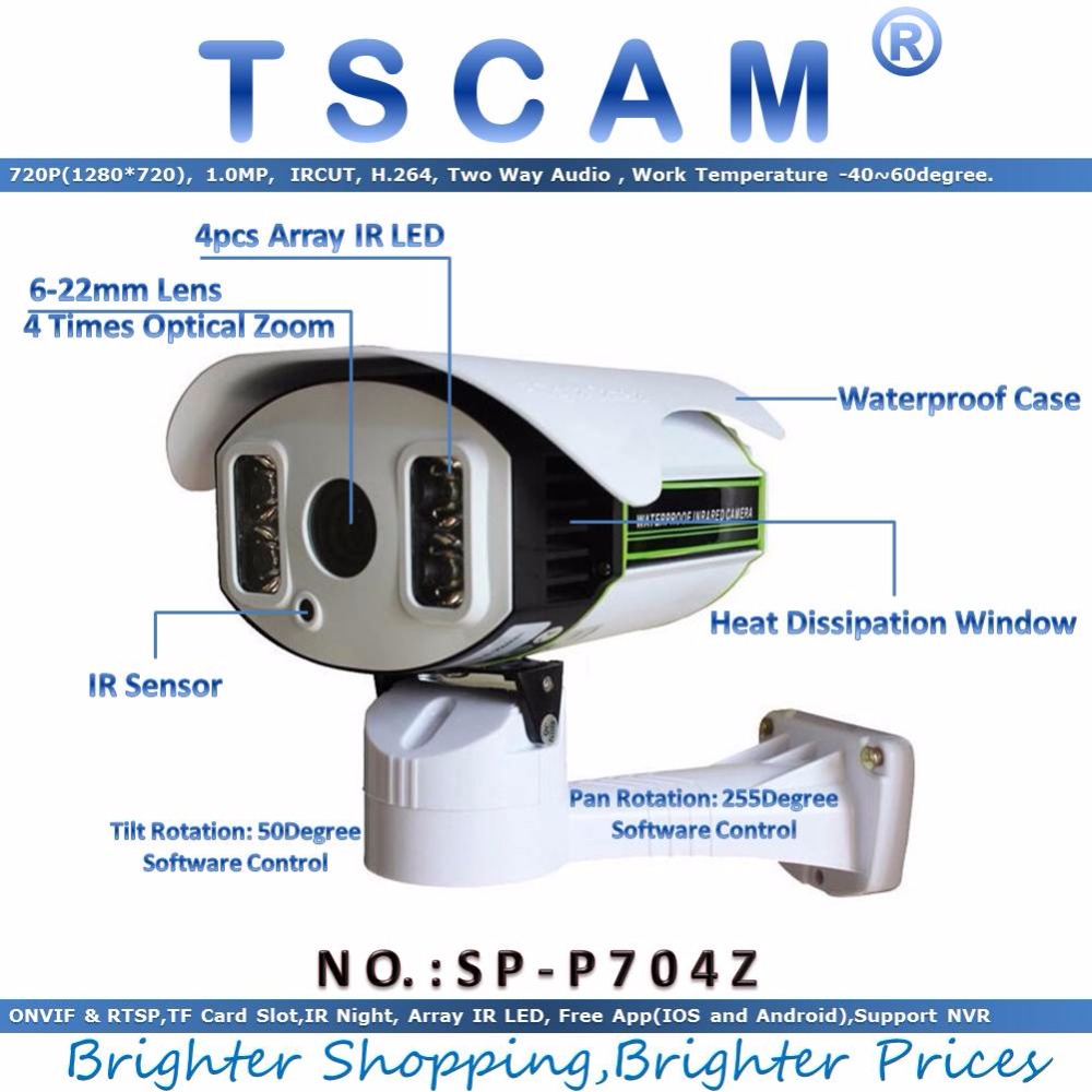 new TSCAM SP P704Z 6 22mm Optical Zoom ONVIF PTZ Network IP Camera Outdoor 720P HD