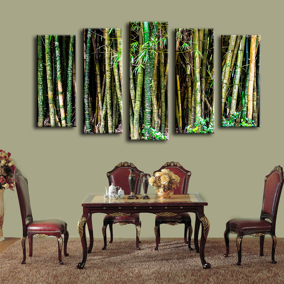 online get cheap framed art of bamboo aliexpress com alibaba group 2017 5 pcs bunch green brown bamboos wall painting home decor wall art print canvas wall picture no framed