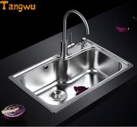 Kitchen Sinks Free shipping 304 stainless steel sink single groove package integrated drawing Kitchen Sinks 70X45cm