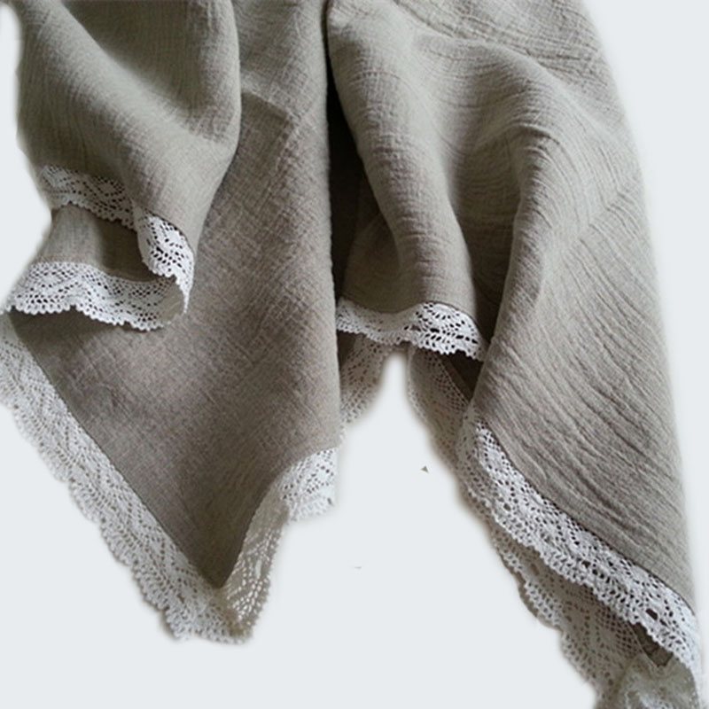 100% Linen Lace Jacquard Blanket Flax Child Adult Single Summer Cool Quilt Hive Bed Tail Lounge Thread Blanket
