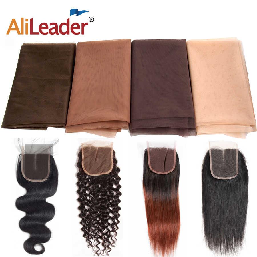 AliLeader ucuz 1/4 Yard yapmak dantel ön İnsan saç peruk vakıf Hairnet şeffaf İsviçre dantel Net peruk yapımı için malzeme