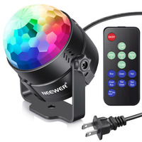 Neewer Mini LED Stage Light Sound Activated Party Light With Remote Control RGB 7 Colors Strobe