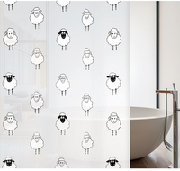 Black And White Sheep Cartoon Shower Curtain 1 8M 2M Creative PEVA Bathroom Curtain Waterproof Mold
