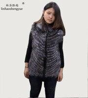 Linhaoshengyue Lapel fox fur vest