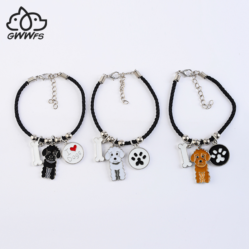 Poodle Dog charm bracelets for women girls men rope chain silver color alloy pet dog pendant male female wrap bracelet fashion