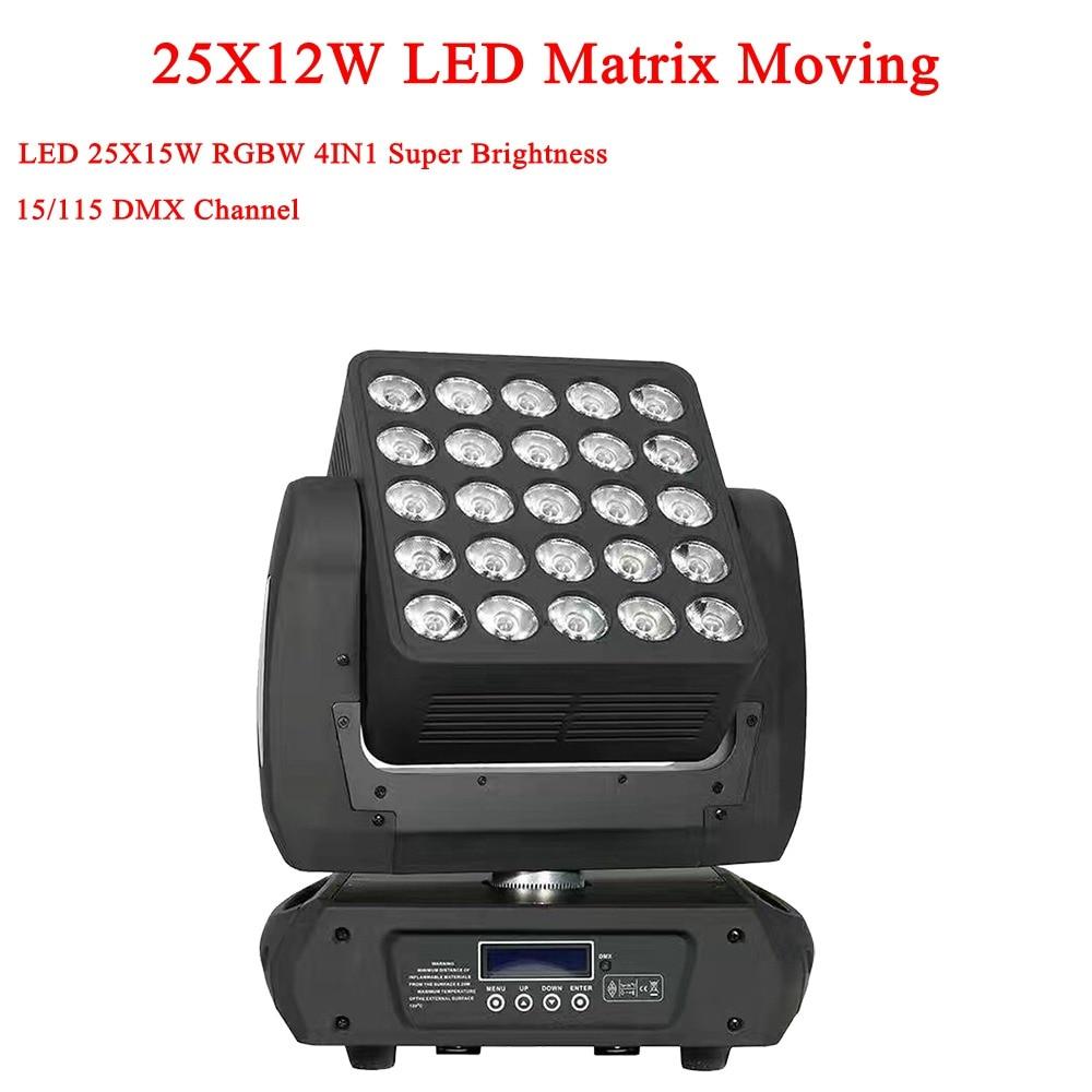 Nueva llegada 25X15W 4IN1 Cree Led Matrix Cabeza móvil Luz de haz DMX 512 RGBW Led Lavado Luces de escenario 19/29/117 Canales 90V-240V