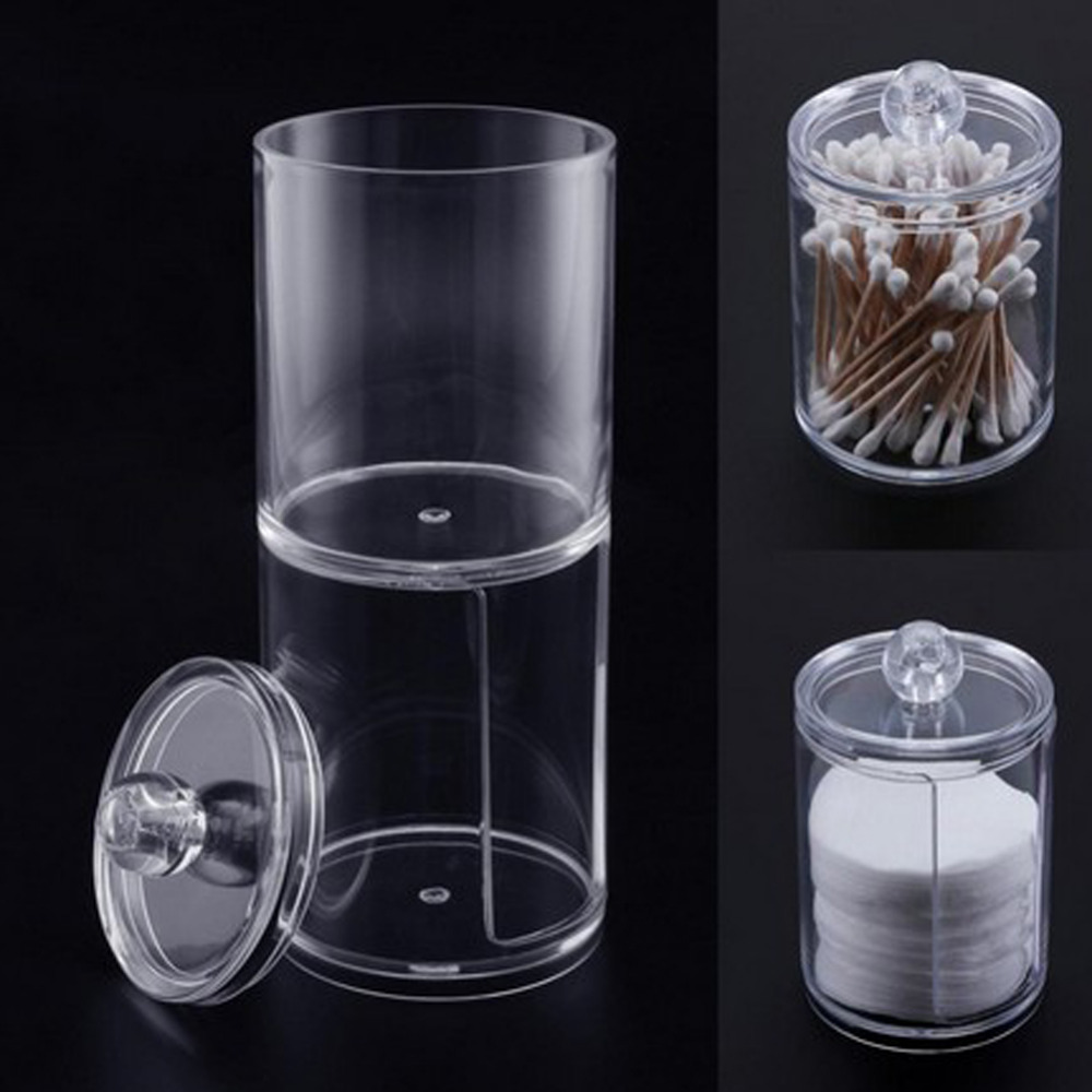 Acrylic Portable Round Container Storage Case Makeup Organizer Cotton & Pad Box Cosmetics Swab Q-tip Holder Wholesale acrylic makeup cotton pad cosmetic organizer case storage box