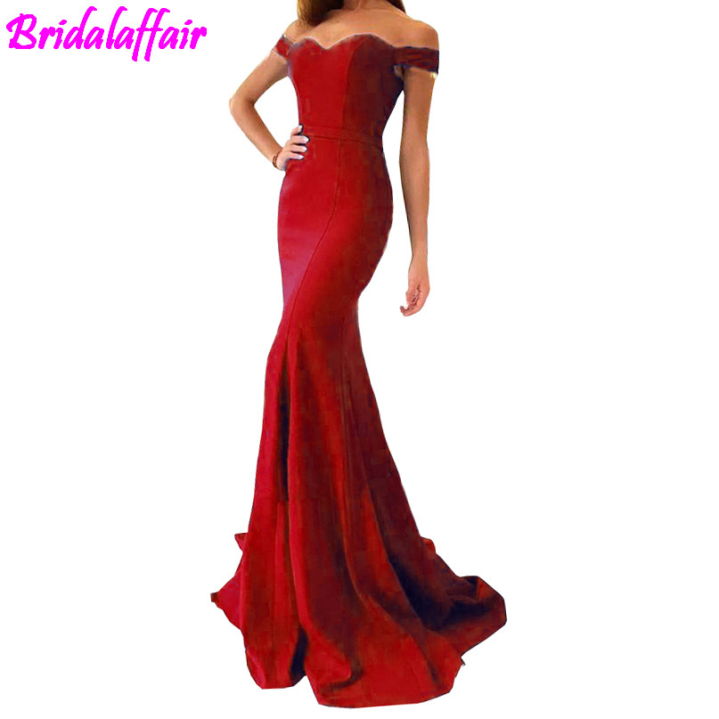 2018 Red Satin Mermaid Long   Prom     Dresses   Elegant Off The Shoulder Bow Sash Simple Sweep Train Formal Party Evening Gowns