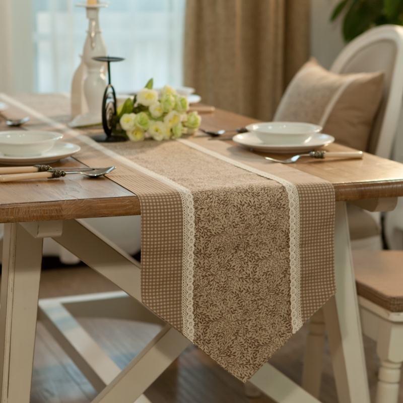 Double layer fabric dining table runner table bed flag american