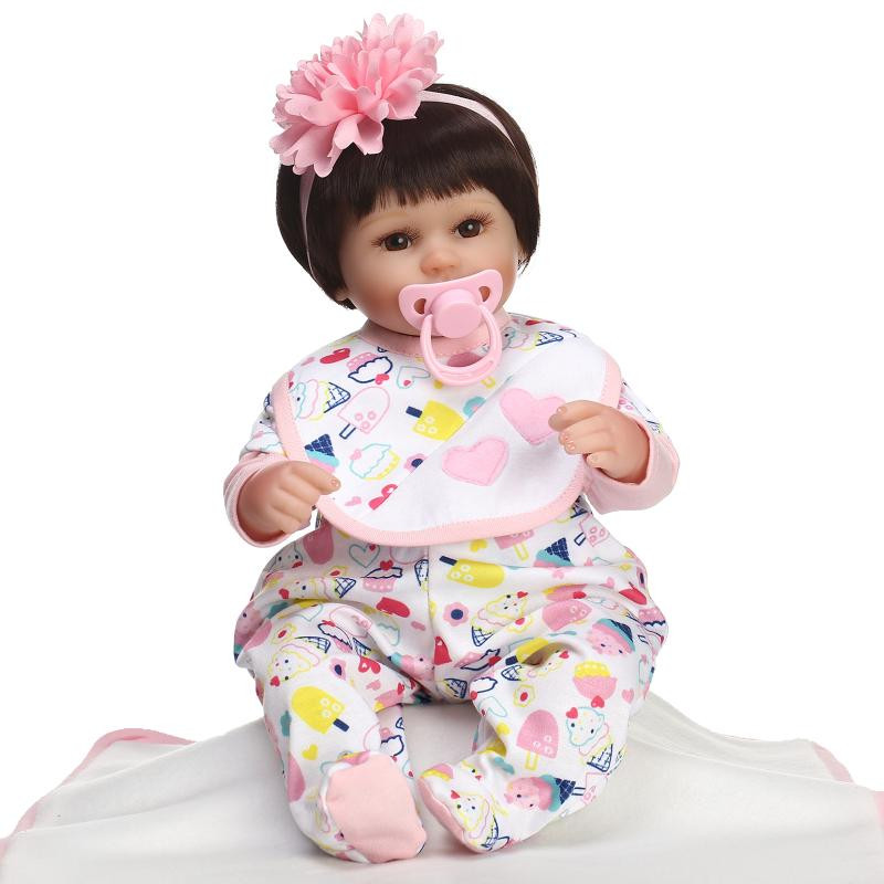 New  45cm Lovely Handmade silicone baby reborn doll toys bedtime toys birthday gift for kids high-end girl brinquedos boneca pp bedtime for baby dwf acct