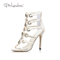 Pink Palms Women Shoes High Heels White Color Metal Ring Decoration Narrow Band Sexy Thin Heel