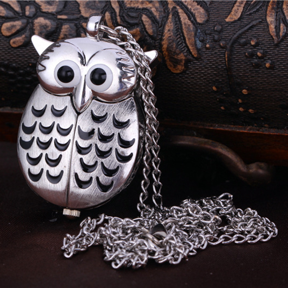 Vintage Quartz Antique Owl Bronze Pocket Watch Steampunk Necklace Roman Number Watches Pendant Chain Women Men Unisex Gifts 9336