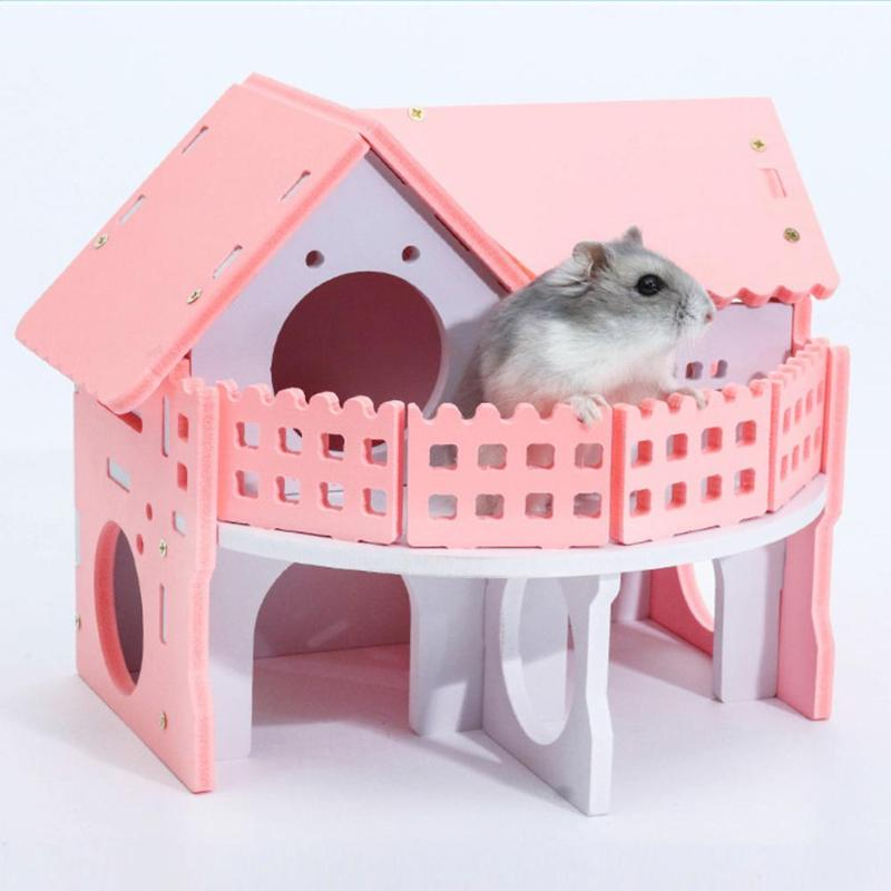 Pink-Wooden-Hamster-Net-Ecological-Double-Deck-Ladder-Villa-Winter-Warm-Colorful-Board-Bed-House-Small