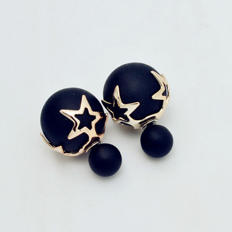 Fashion jewelry double side matte 16MM pearl stud star flower design gift women girl mix color E2507 - just do my best store