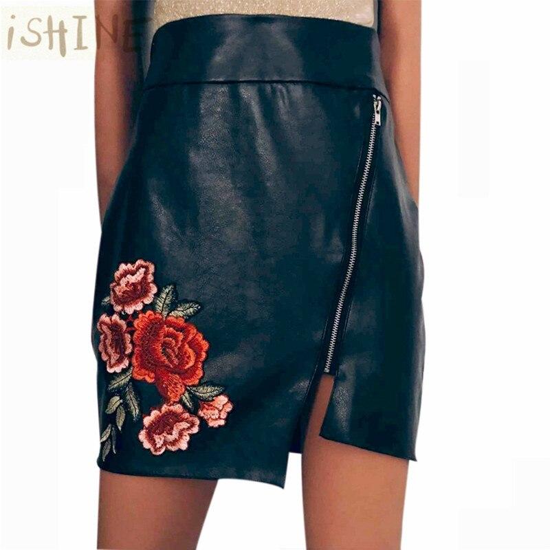 ISHINE 2017 summer Women's embroidered zipper irregular high waist pack hip skirt faldas mujer pleated skirts femme