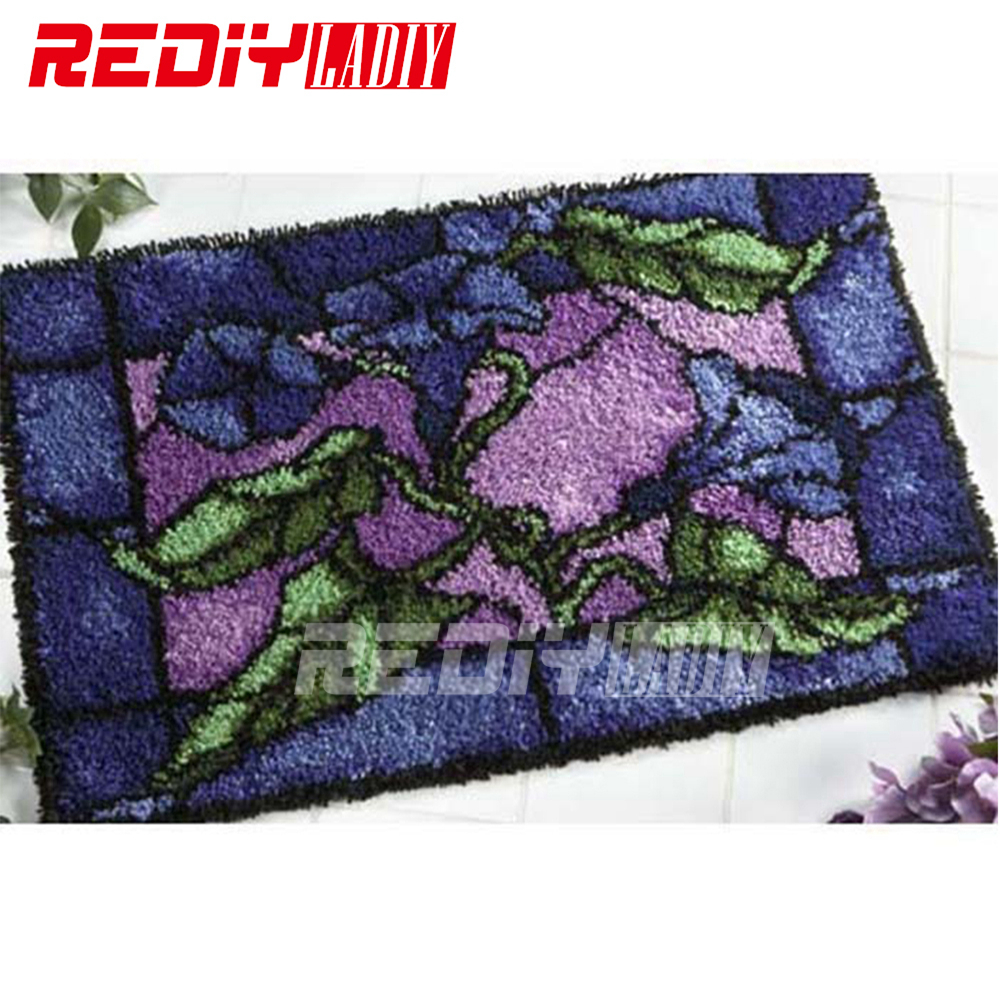 REDIY LADIY Latch Hook Rug Floor Mat Wall Tapestry Pre Printed Canvas Morning glory Yarn Embroidery