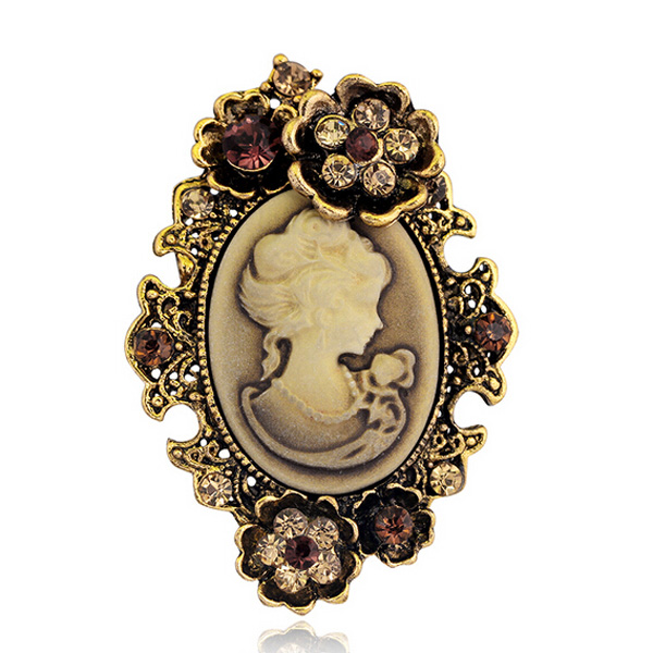 0aede3c097a Fashion Antique Gold Silver Vintage Brooch Pins Female Brand Jewelry Queen  Cameo Brooches Rhinestone For Women Christmas Gift