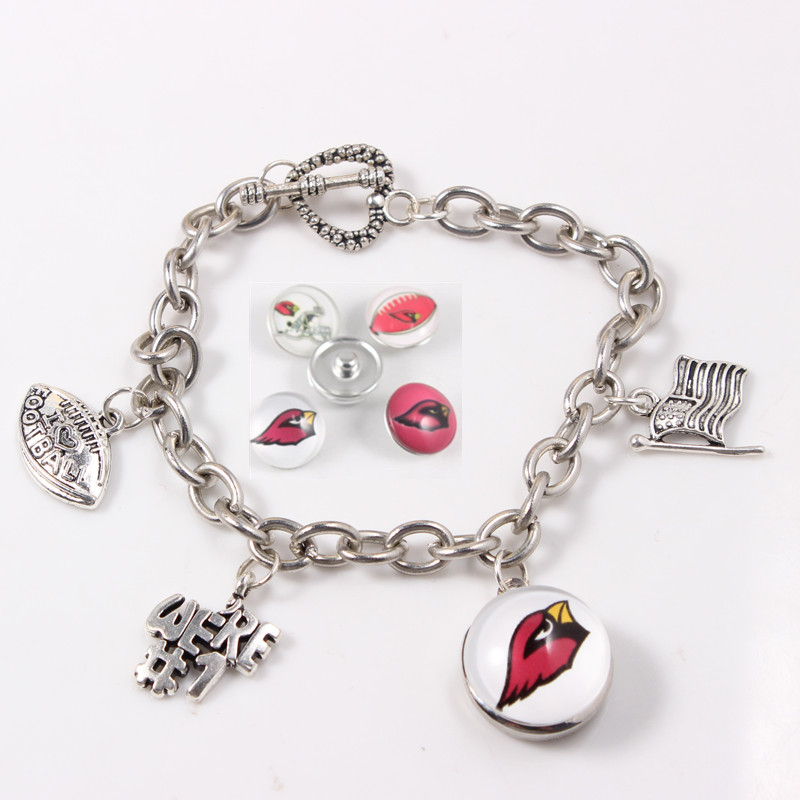 4pcs/lot Football Sports Arizona Cardinals Bracelets Link Chain Bracelet&Bangles American Fans Bracelet Jewelry Snap charms