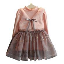 2-8T Long Sleeve Girl Dresses 2017 New Autumn Dresses Children Clothing Princess Dress PinkWool Bow Design Girls  Clothes hsp025