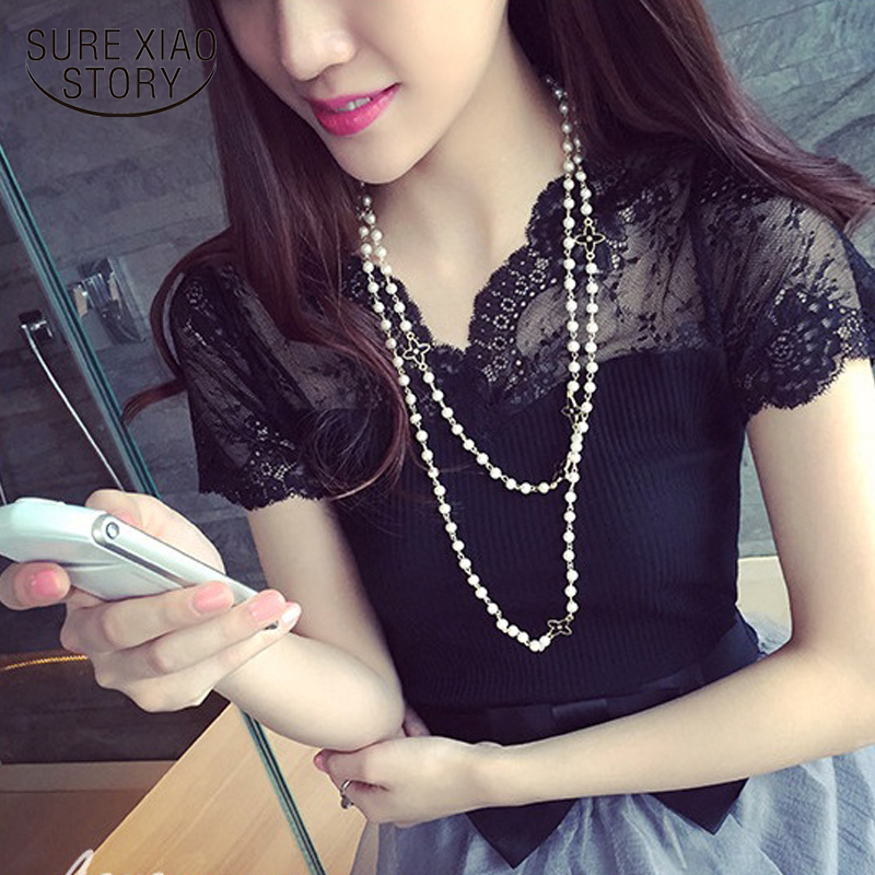 New 2016 Women Summer Fashion Style Clothes Cotton Short Sleeve Shirts V-neck Lace Patchwork Knit Blouse Shirt Tops 600A 25