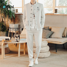 LOLDEAL Chinese Style Stand Collar Suit Mens Retro Vintage Embroidery Tunic Blazer+Pants Male Two-piece Set