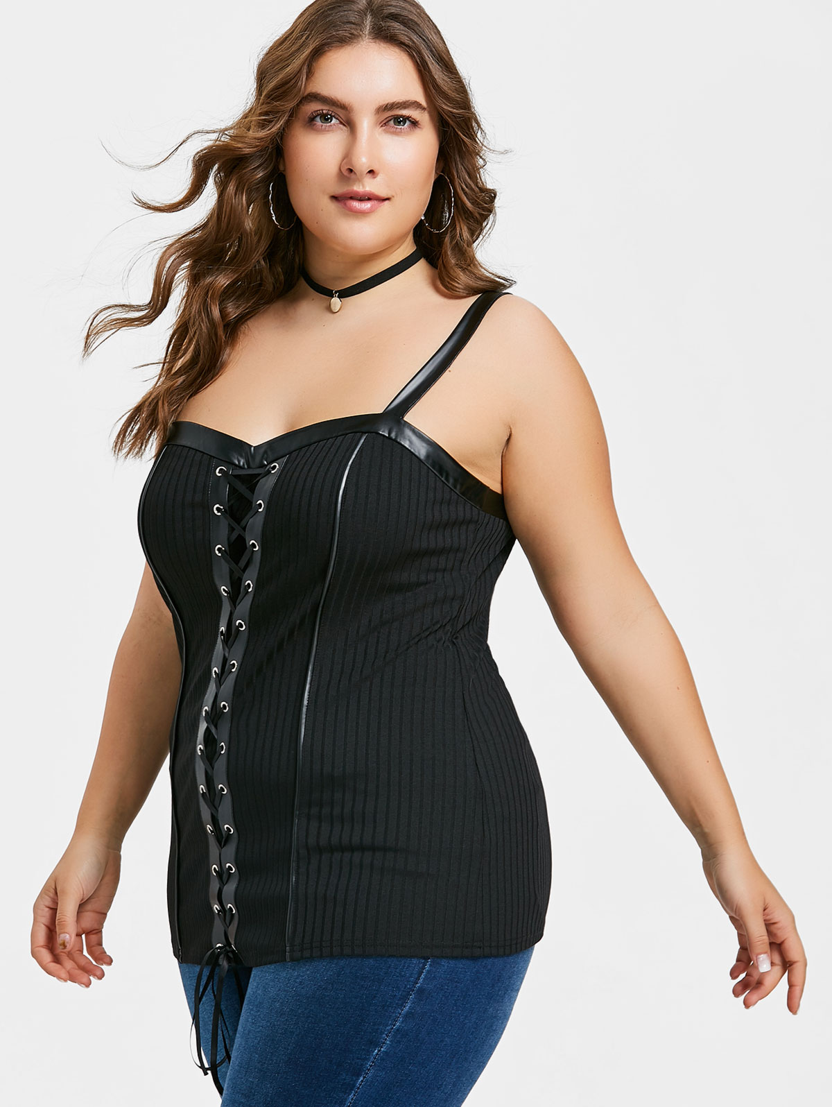 9c7421dc81 2018 Plus Size PU Leather Trim Lace Up Top Summer Black Ribbed Fabric  Corset Women Tops Camis Casual Sweetheart Neck Top Tees-in Camis from  Women s Clothing ...
