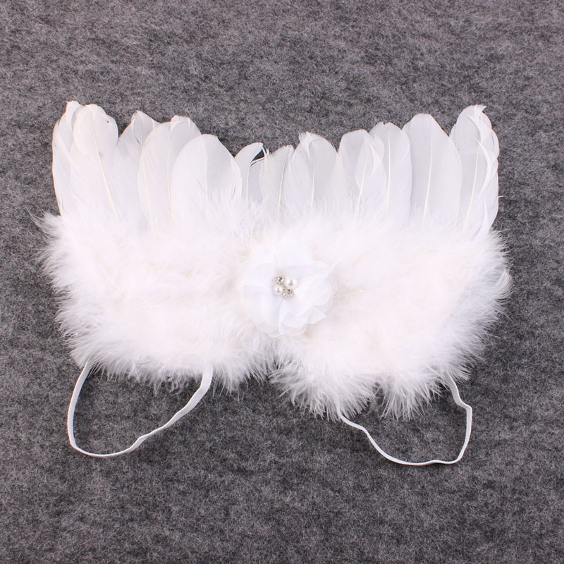 Vintage Blush Angel Wings dan White Feather Headband Lace Headband - Aksesori pakaian - Foto 2