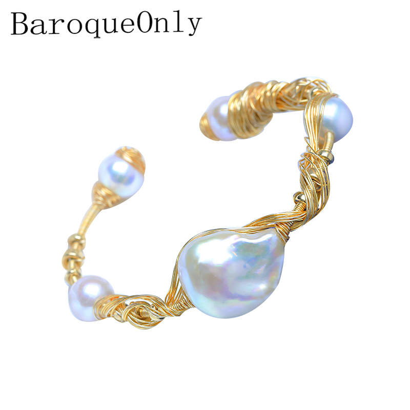 BaroqueOnly white baroque multi wire wrapping 5 pearls special bracelets bangles Luxurious fashion jewelry for dating