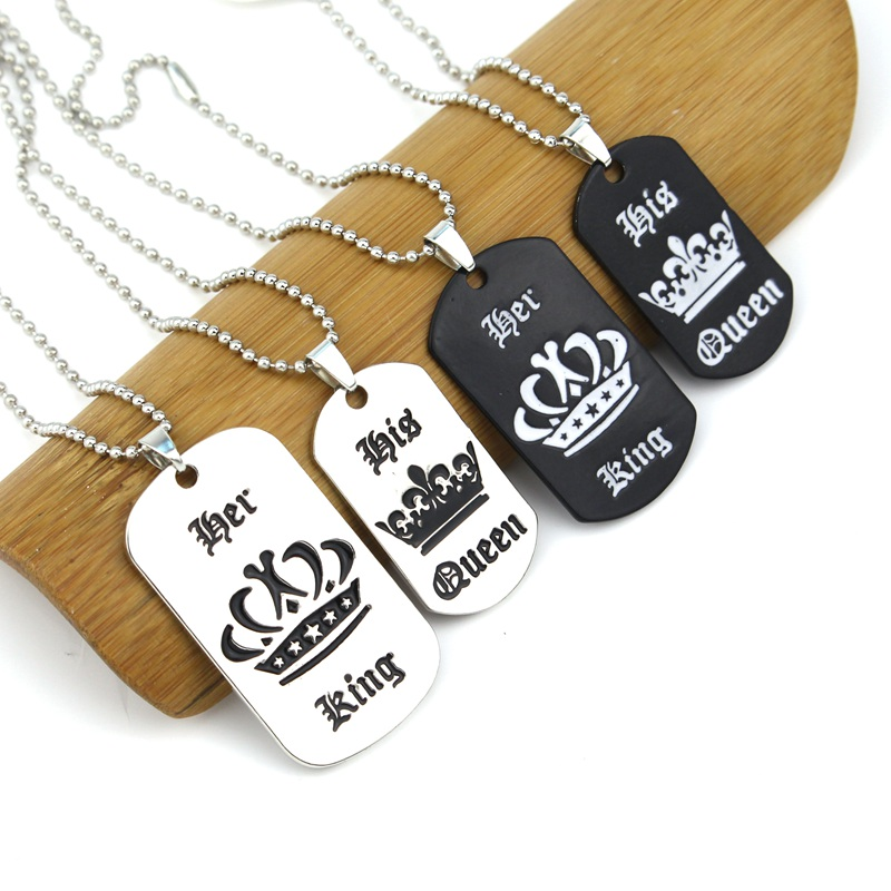 e2e2cc89a1 Tags Pendant Necklace Her King & His Queen Crown Necklace Military Army  Cards for Lover Dropshipping-in Pendant Necklaces from Jewelry &  Accessories on ...