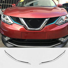 Fit For Nissan Qashqai 2014 2015 2016 2017 Chrome Front Mesh Grille Grill Head Light Cover Trim Insert Styling Molding Garnish