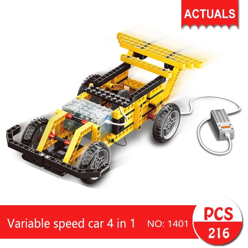 1401 216Pcs Technic series Variable speed car 4 in 1  Building Blocks   Bricks Toys For Children 8 in 1 military ship building blocks toys for boys