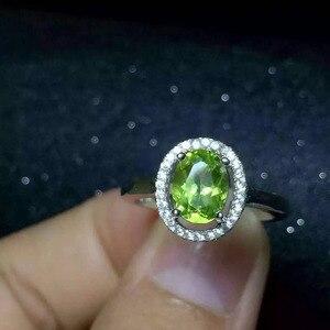 Натуральный зеленый камень Перидот кольцо натуральный оливин кольцо S925 стерлингового серебра модные элегантные простые круглые женские ю...