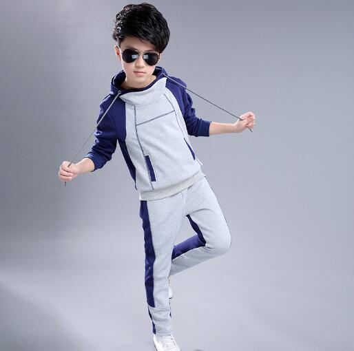 Boy Hooded Tracksuit Clothes set Children Spring Autumn Cotton School Uniform Sport Suit Boys Clothing Sets 4 6 8 10 12 14 year