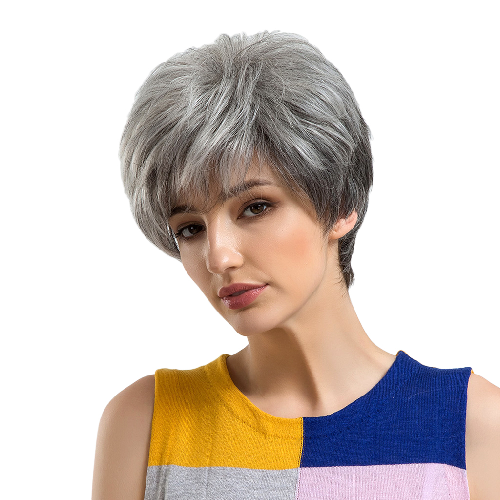 Chic Short Wigs for Women Human Hair w/ Bangs Fluffy Layered Pixie Cut Wig inclined bang short layered straight colormix human hair wig