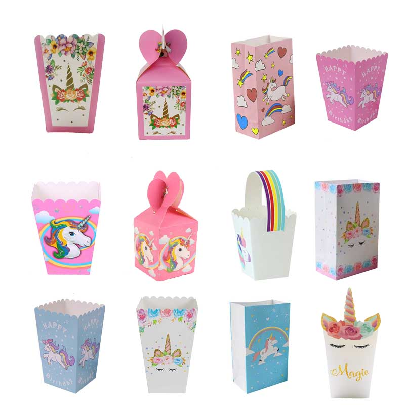 Unicorn Party Paper Gift Bag Birthday Party Decorations Kids Gift Box Cookie Bags Unicorn Theme Supplies Packaging Candy Box