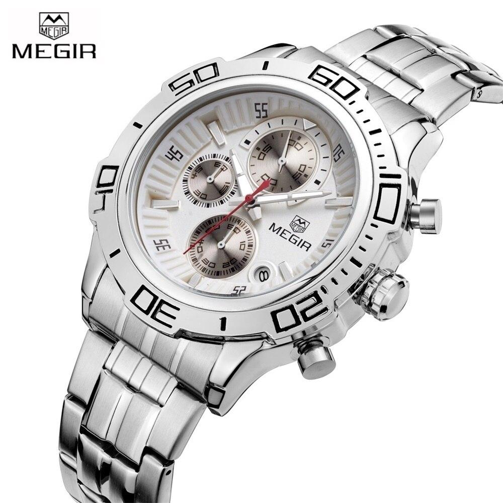 3c3f1a47602 Novo 2017 de Luxo Da Marca Homens de Negócios do Relógio de Aço Inoxidável  Relógios de Quartzo Cronógrafo Militar relógio de Pulso à prova d  água  Relogio
