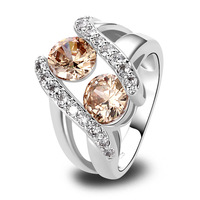 lingmei  Wholesale Champagne Fashion Morganite White Topaz  Silver Ring Size 6 7 8 9 10 11 12 13 Women Jewelry Free Shipping