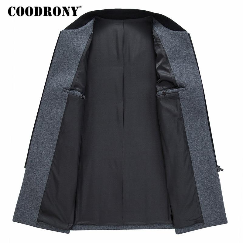 COODRONY Men Coat Winter Thick Warm Wool Coat Men Clothes 2019 Slim Fit Coat Mandarin Collar Jacket Mens Overcoat Mens Coats C03