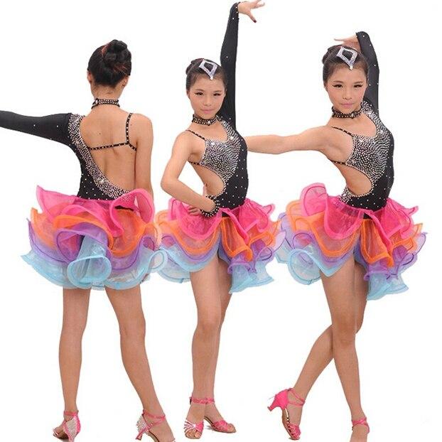 Date arc-en-ciel strass inégale filles latine robe de salon/enfants robe de danse latine enfants